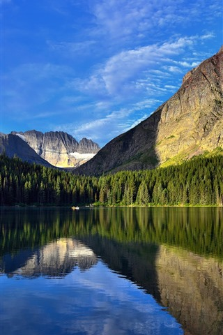 iPhone Wallpaper Beautiful nature landscape, mountains, trees, lake, clear water, reflection