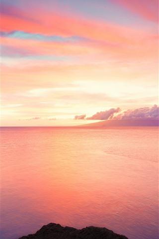 iPhone Wallpaper Beautiful sunset, red sky, sea, clouds, rocks