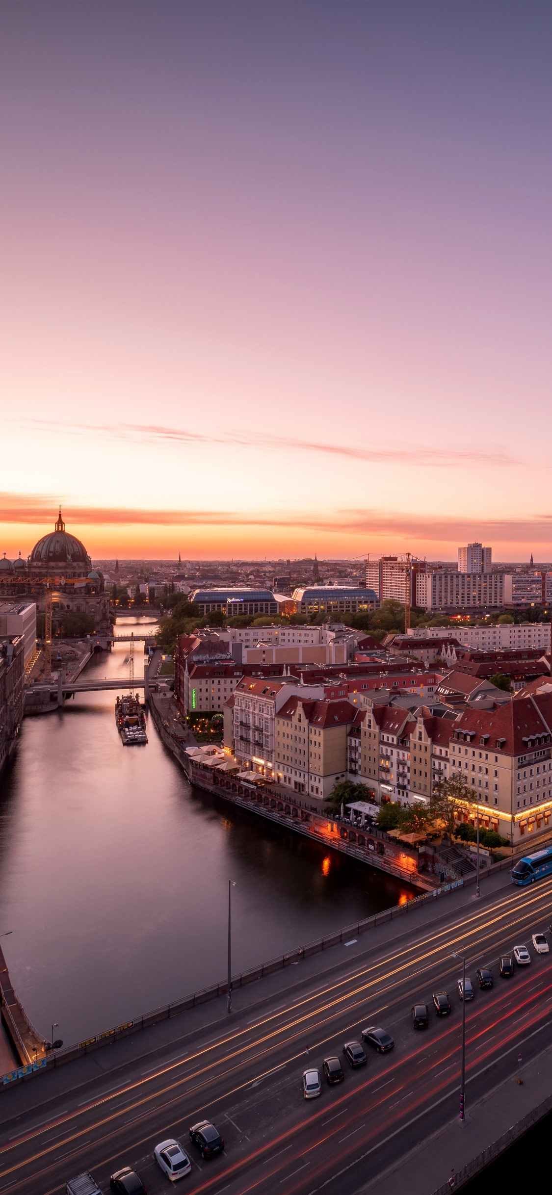 Berlin Germany City Bridge River Cars Sunset 1242x2688 Iphone 11 Pro Xs Max Wallpaper Background Picture Image