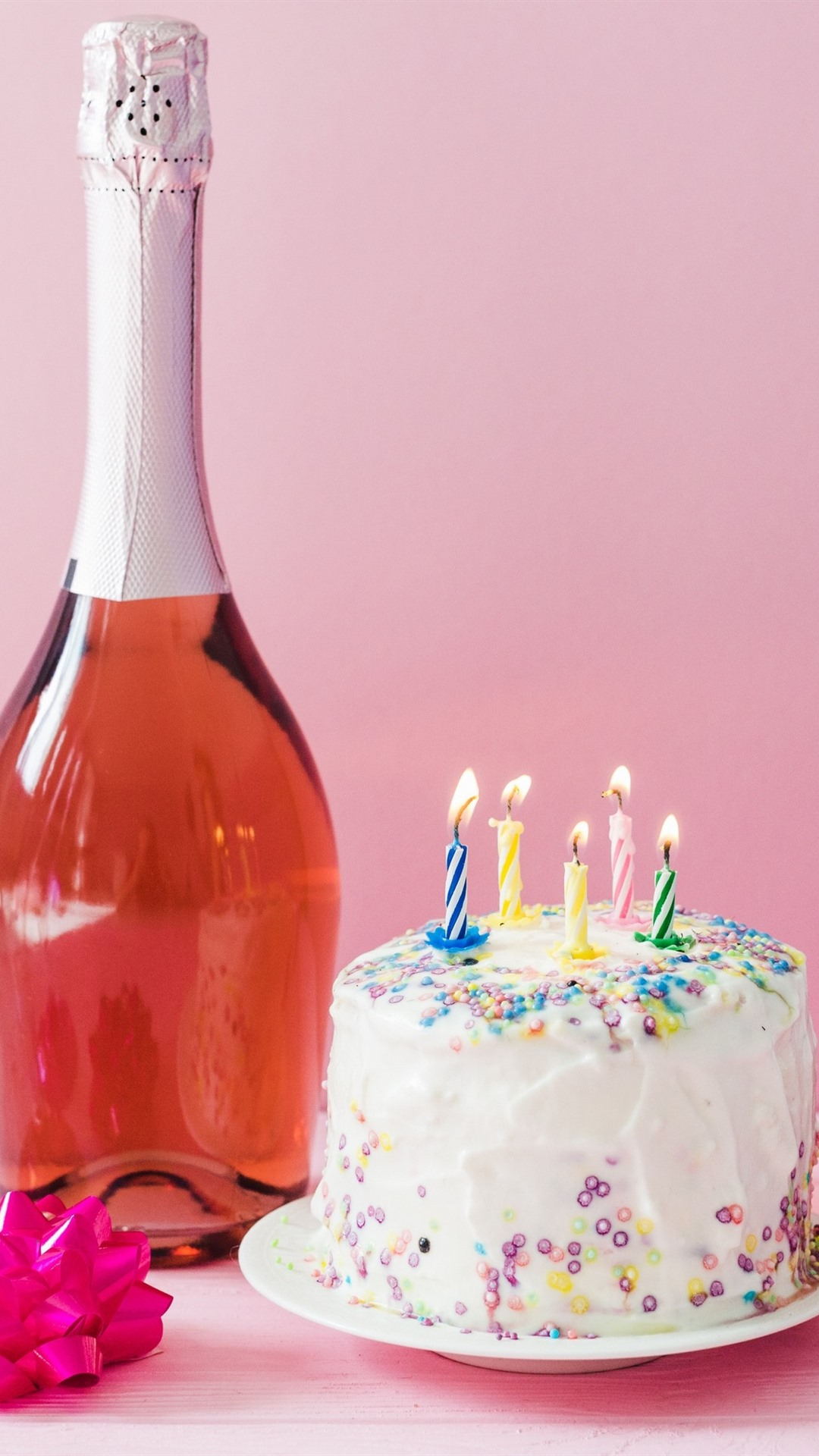 Birthday Cake Candles Fire Wine Gift 1080x1920 IPhone 8 7 6 6S