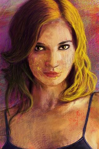 iPhone Wallpaper Blonde girl, art painting