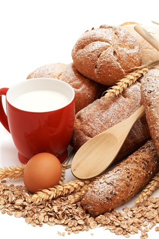 Bread Cup Milk Eggs White Background 1125x2436 Iphone Xs X