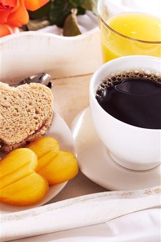 iPhone Wallpaper Breakfast, dessert, coffee, orange juice
