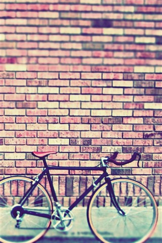 iPhone Wallpaper Bricks wall, bike, street