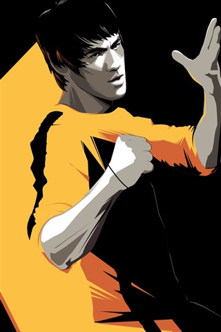 iPhone Wallpaper Bruce Lee, Kung Fu star, art picture