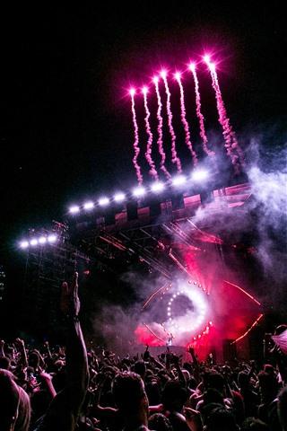 iPhone Wallpaper Celebration concert, audience, fireworks, night