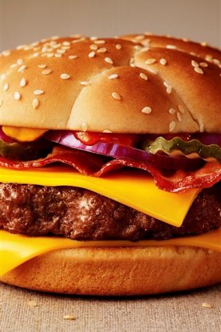 iPhone Wallpaper Cheeseburger, fast food