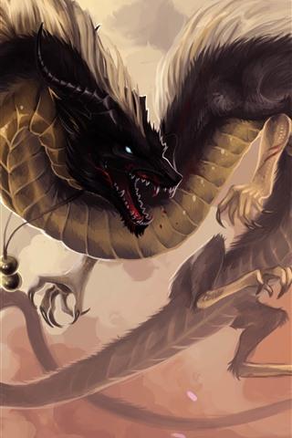 iPhone Wallpaper Chinese dragon, fantasy animal