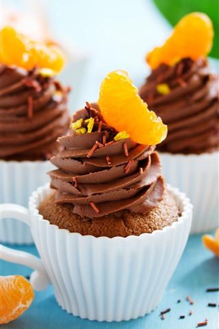 iPhone Wallpaper Chocolate cupcakes, oranges