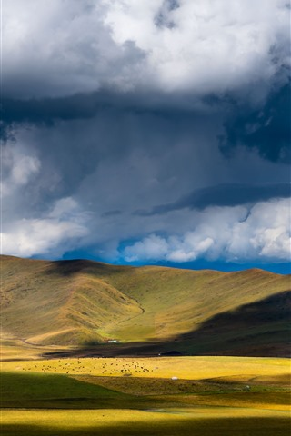 iPhone Wallpaper Chuanxi, grassland, mountains, clouds, shadow, China
