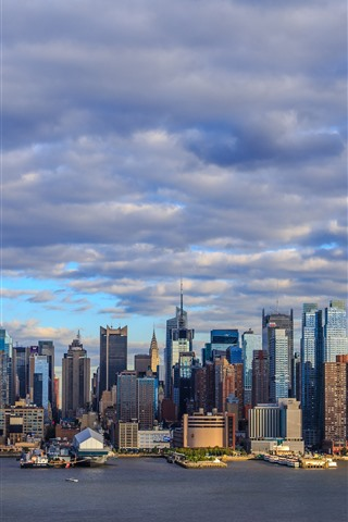 iPhone Wallpaper City, buildings, skyscrapers, river, clouds