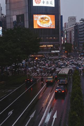 iPhone Wallpaper City, road, people, buildings, night, Japan