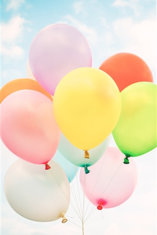 iPhone Wallpaper Colorful balloons, sky, white clouds