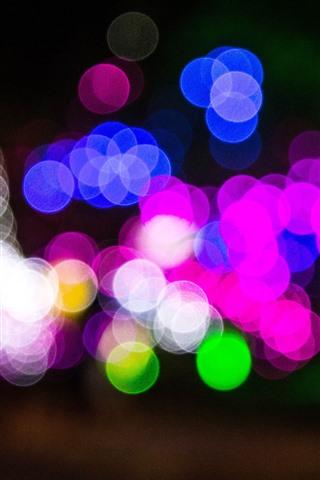 iPhone Papéis de Parede Círculos de luz coloridos, azul, rosa, verde, branco