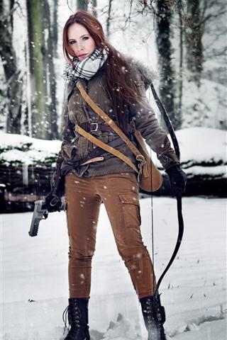 iPhone Wallpaper Cosplay girl, Tomb Raider, Lara, gun, bow, snow, trees