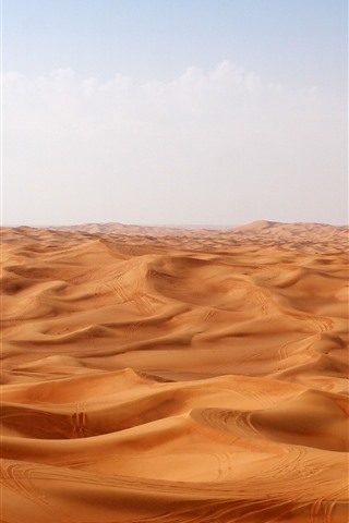 iPhone Wallpaper Desert, dunes, clouds, hot