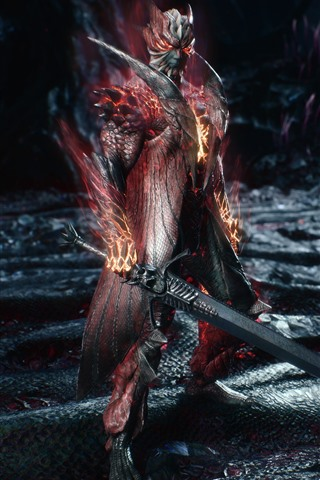 iPhone Wallpaper Devil May Cry 5, warrior, sword