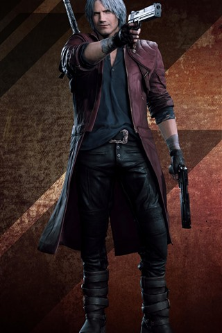 iPhone Wallpaper Devil May Cry 5, white hair man, guns