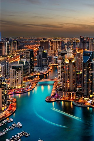 iPhone Wallpaper Dubai, cityscape at night, skyscrapers, lights, river, boats