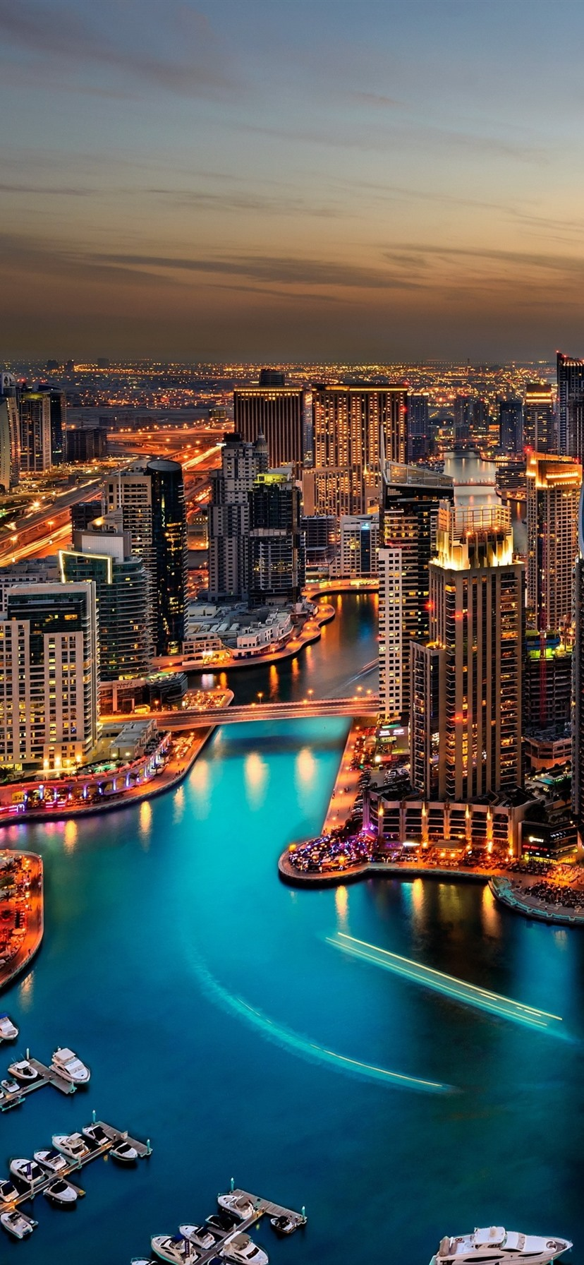 Wallpaper Dubai Cityscape At Night Skyscrapers Lights