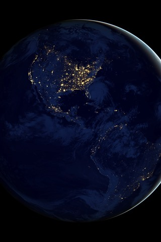 iPhone Wallpaper Earth at night, space, planet