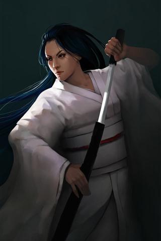 iPhone Wallpaper Fantasy Japanese girl, blue hair, sword