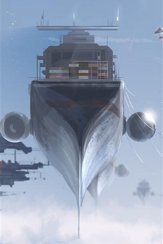iPhone Wallpaper Fantasy, futuristic, spaceship, dock