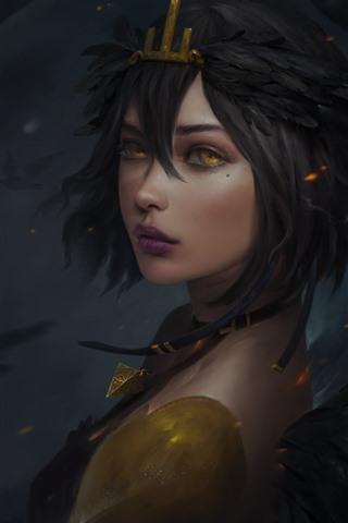 iPhone Wallpaper Fantasy girl, wings, yellow eyes