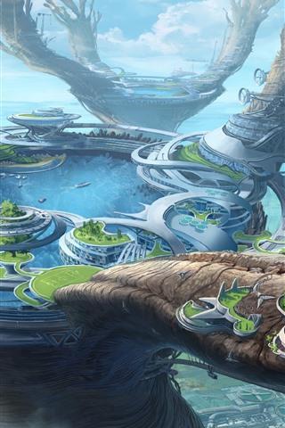 iPhone Wallpaper Fantasy world, future style, city, lake, creative design
