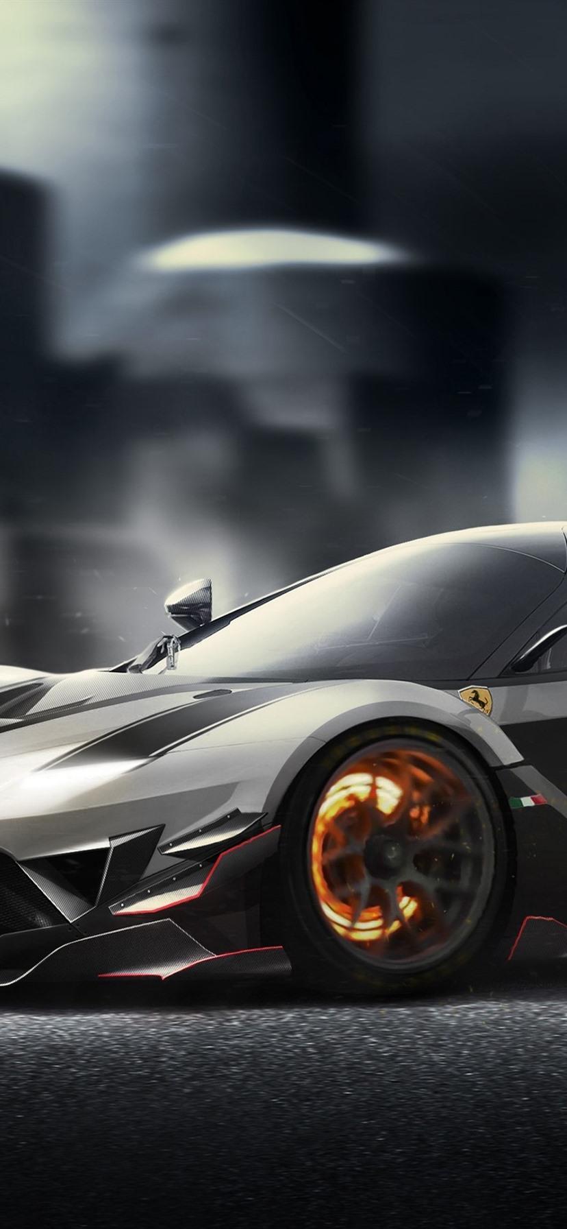 フェラーリ Fxxk シルバースーパーカー 8x1792 Iphone 11 Xr 壁紙 背景 画像
