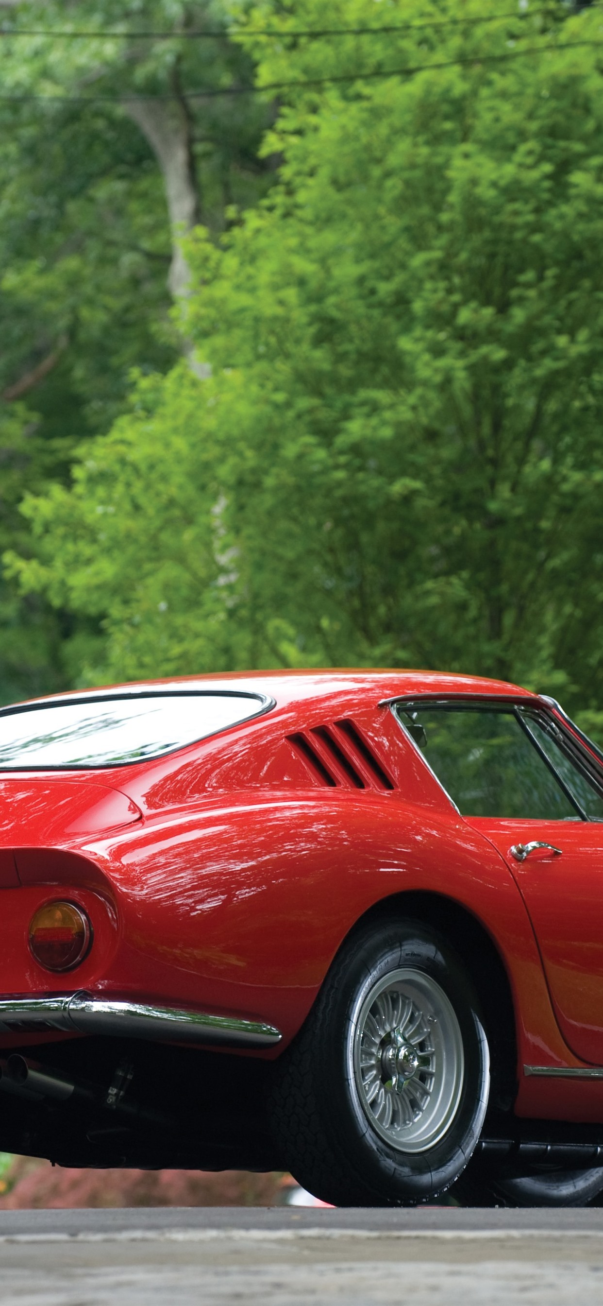 Ferrari Red Classic Car Rear View Green Trees 1242x2688 Iphone 11 Pro Xs Max Wallpaper Background Picture Image
