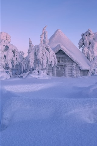 iPhone Wallpaper Finland, Lapland, winter, thick snow, trees, house