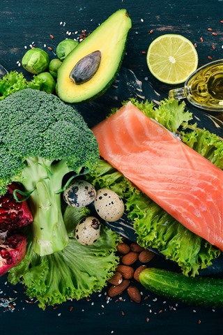 iPhone Wallpaper Fish meat, broccoli, cucumber, oil, eggs, nuts, vegetables