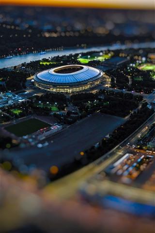 iPhone Wallpaper Football Stadium, Luzhniki, Russia, city, lights, night