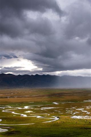 iPhone Wallpaper Gannan Awancang Wetland, mountains, clouds, beautiful nature landscape, China