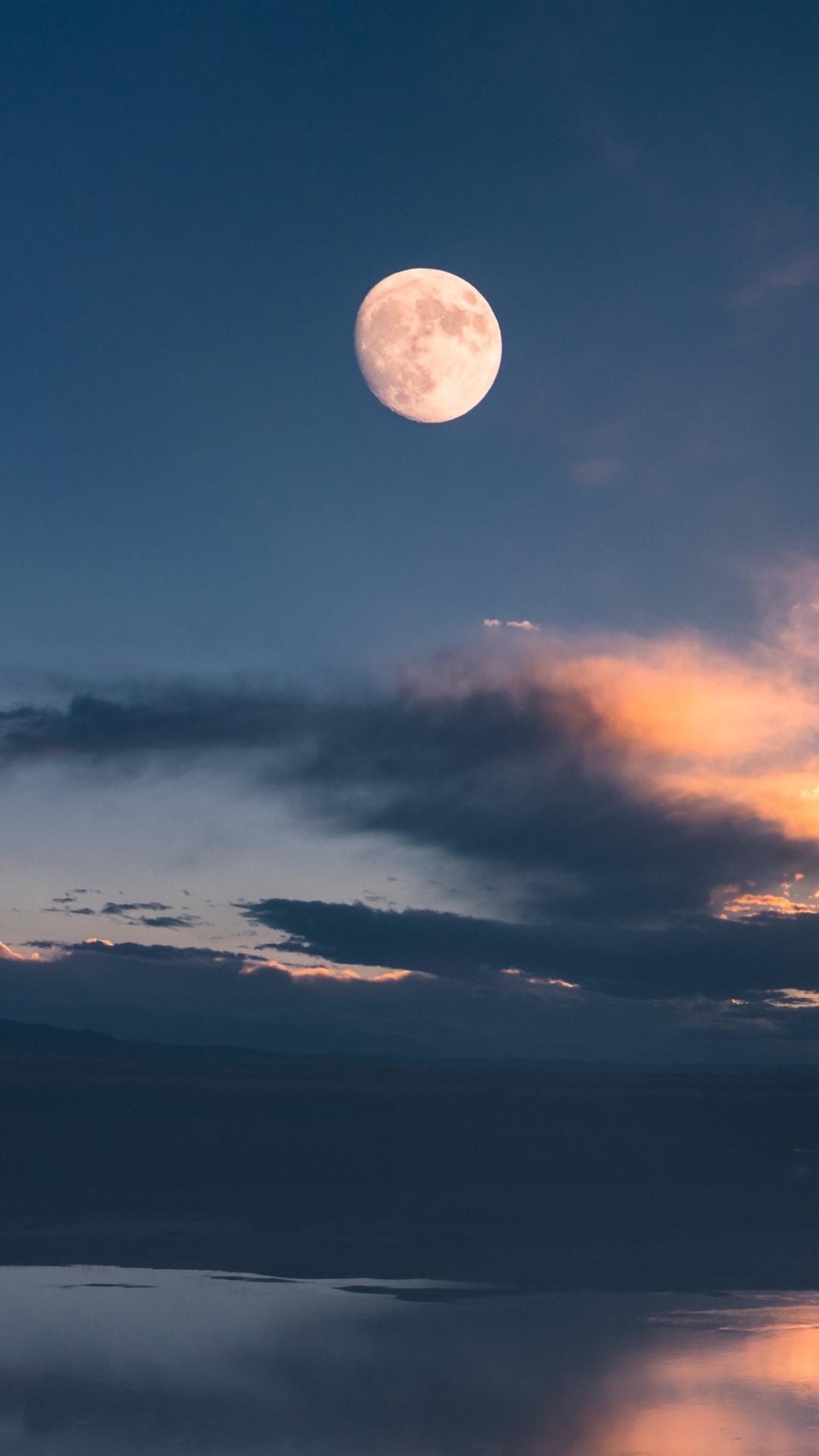 Gannan Maqu Lake Clouds Sky Moon China 1080x1920