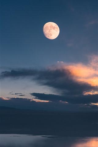 iPhone Wallpaper Gannan, Maqu, lake, clouds, sky, moon, China