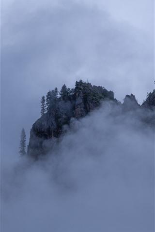 iPhone Wallpaper Gannan, mountain, fog, clouds, nature, China