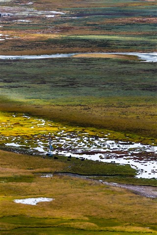iPhone Wallpaper Gannan, wetland, water, grass, China