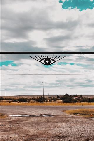 iPhone Wallpaper Gate, road, eyes, power lines