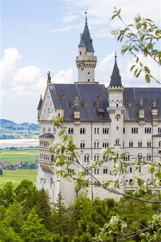 iPhone Wallpaper Germany, Bavaria, Neuschwanstein, trees, city, river