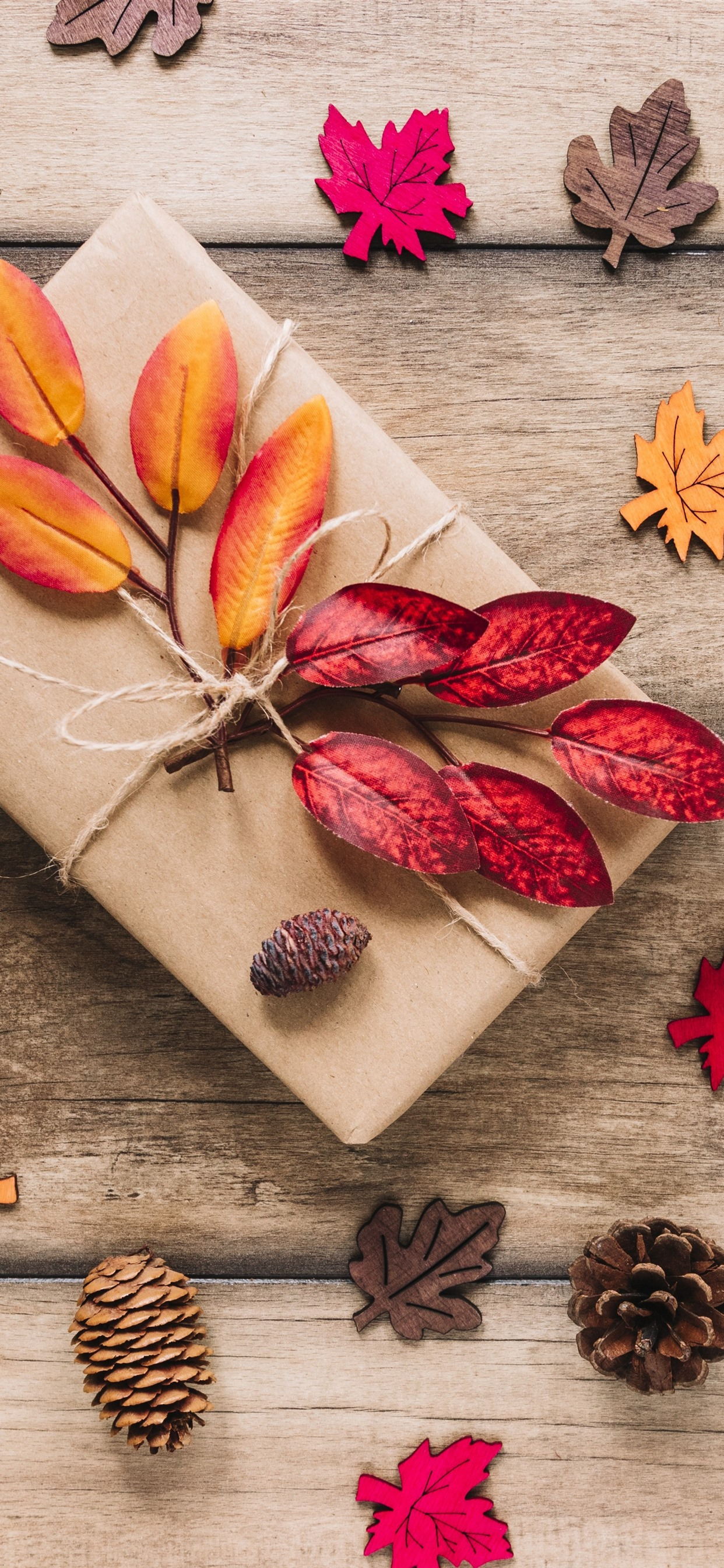 Gift Leaves Wood Board 1242x2688 Iphone Xs Max Wallpaper