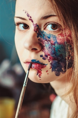iPhone Wallpaper Girl, face, painting