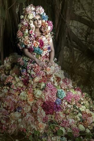 iPhone Wallpaper Girl, flowers dress, art photography
