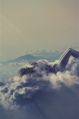 iPhone Wallpaper Girl sleeping, clouds, heels, mountains, creative picture