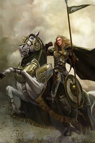 iPhone Wallpaper Girl, warrior, horse, art picture