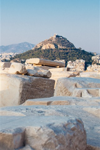 iPhone Wallpaper Greece, Mount Lycabettus, city, rocks