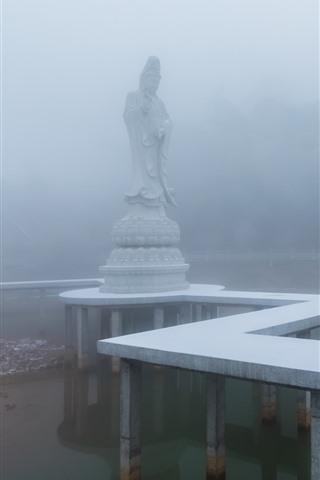 iPhone Wallpaper Guanyin, statue, fog