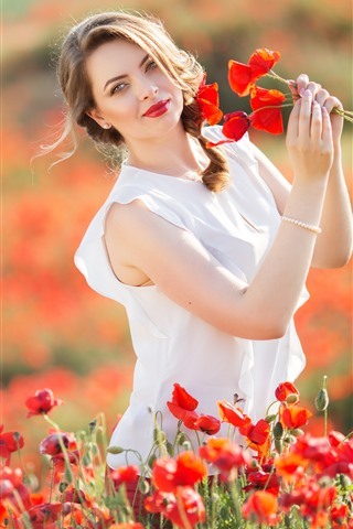 iPhone Wallpaper Happy girl, summer, red poppies