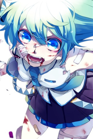 iPhone Wallpaper Hatsune Miku, blue eyes girl, injured